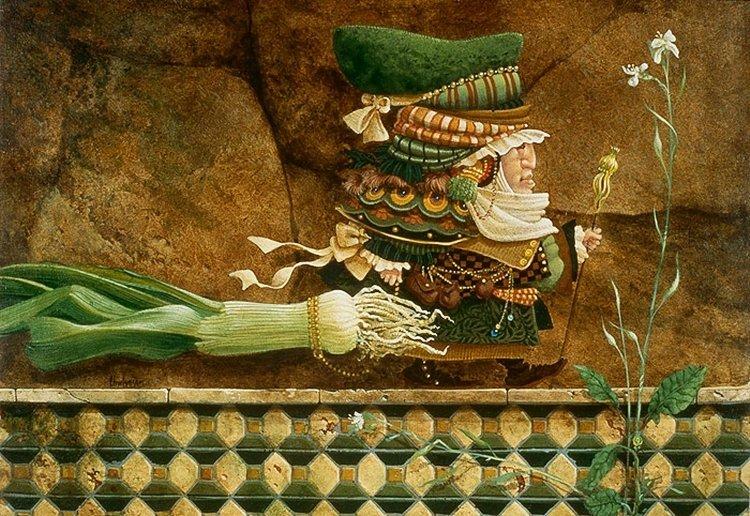 13W: JAMES C. CHRISTENSEN - MAN TAKING A LEEK ON A TILE