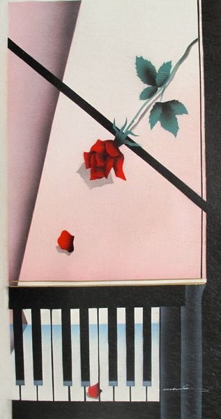 4T: ROSE ON PIANO SIGNED ORIGINAL OIL PAINTING ON CANVA