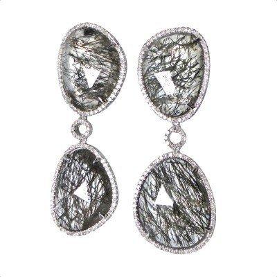 13F: Rutilated Quartz and Diamond Earrings