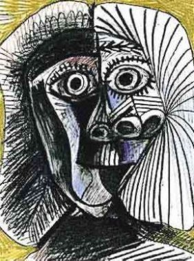 #112 BLACK AND YELLOW DRAWING PICASSO ESTATE SIGNED