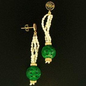 3K: NATURAL GREEN JADE EARRINGS