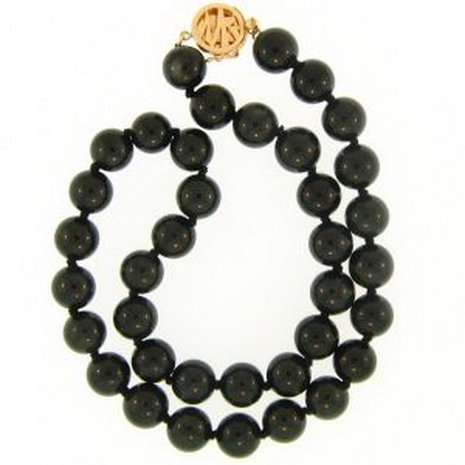 9K: NATURAL BLACK JADE NECKLACE