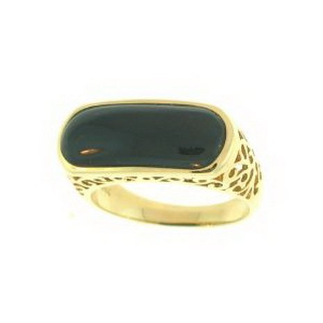 11K: NATURAL BLACK JADE RING