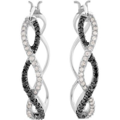 25F: BLACK  AND  WHITE  DIAMOND  HOOPS