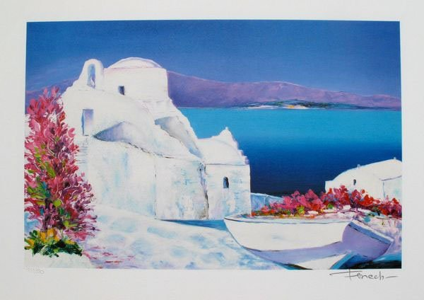 744T: FENECH LA GRECE LIMITED ED HAND SIGNED LITHOGRAPH