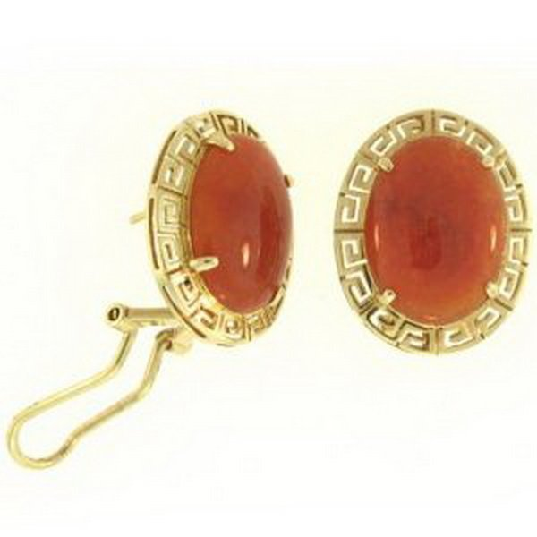 7K: NATURAL RED JADE EARRINGS