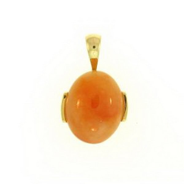 13K: NATURAL RED JADE PENDANT