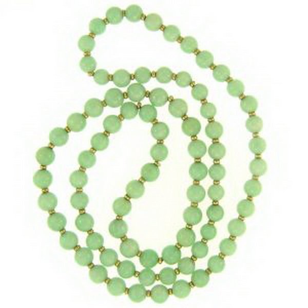 547K: NATURAL GREEN JADE NECKLACE