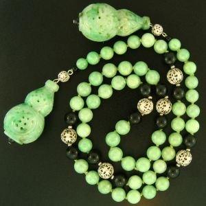 13K: NATURAL GREEN JADE NECKLACE