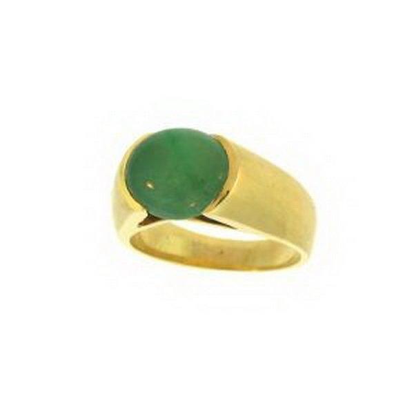 19K: NATURAL GREEN JADE RING