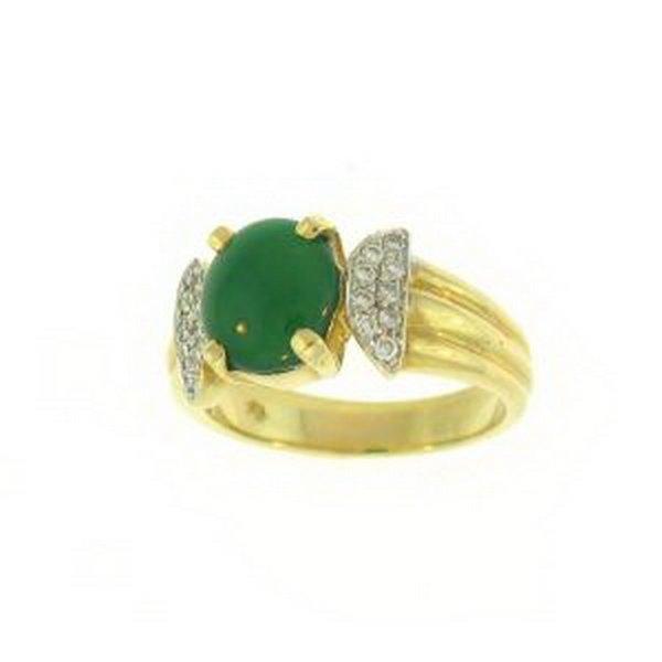 27K: NATURAL GREEN JADE RING