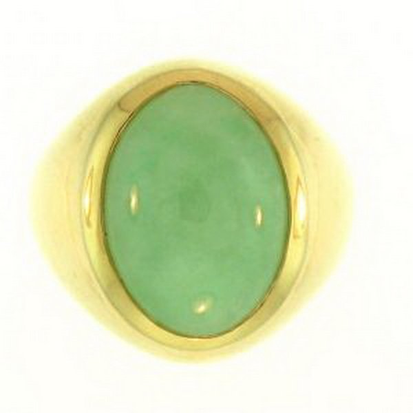 10K: NATURAL GREEN JADE RING