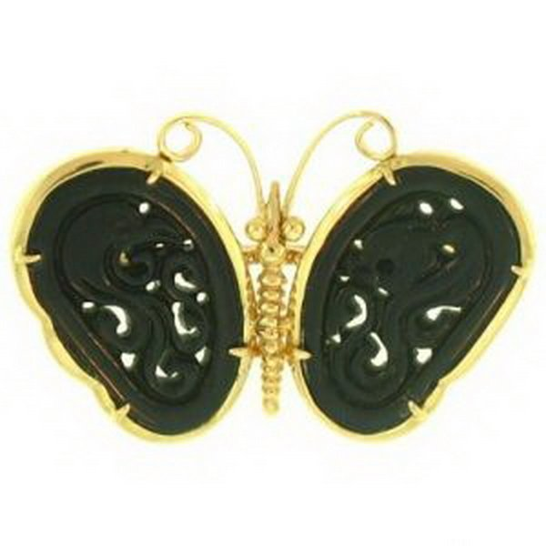 14K: NATURAL BLACK JADE PIN
