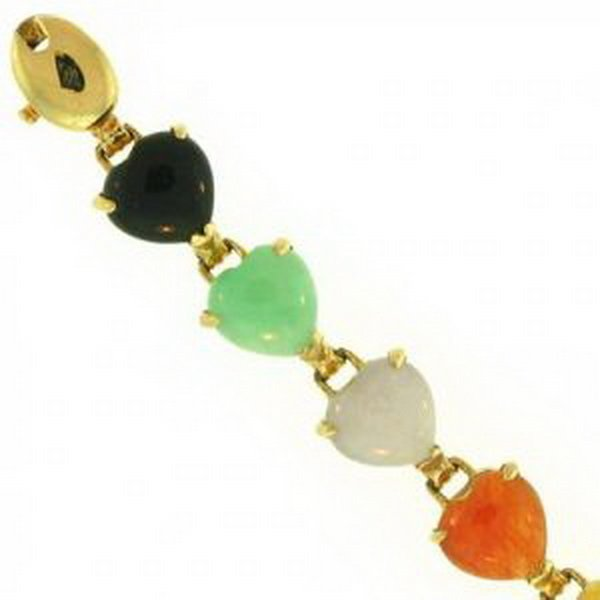 23K: NATURAL MULTI-COLOR JADE BRACELET