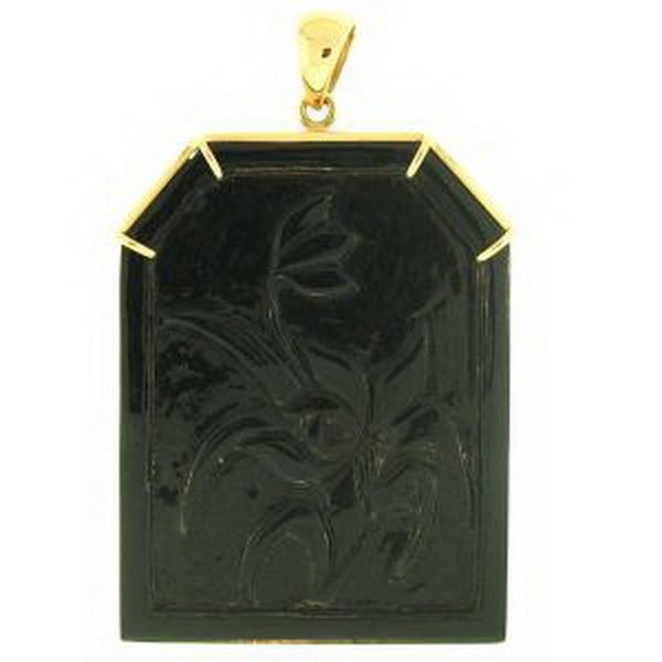 28K: NATURAL BLACK JADE PENDANT