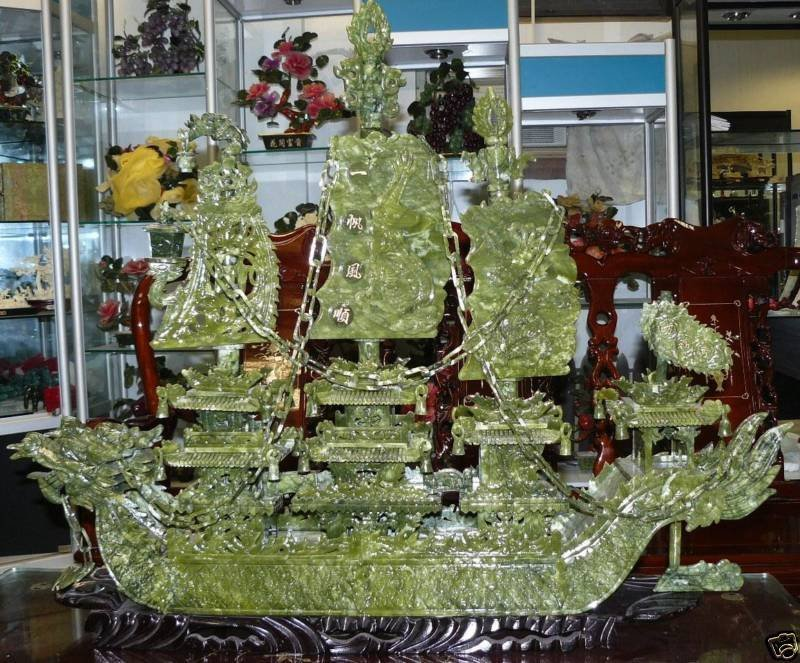 "7P: LARGE 38"" GREEN JADE DRAGON BOAT"