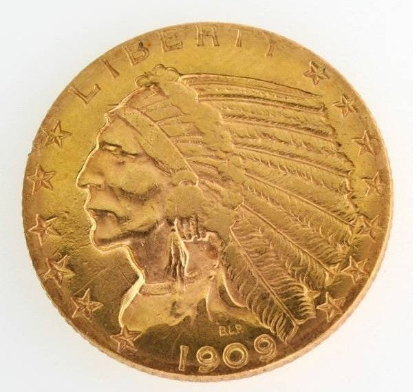 12Y: $5 INDIAN PCGS MS61 GOLD COIN