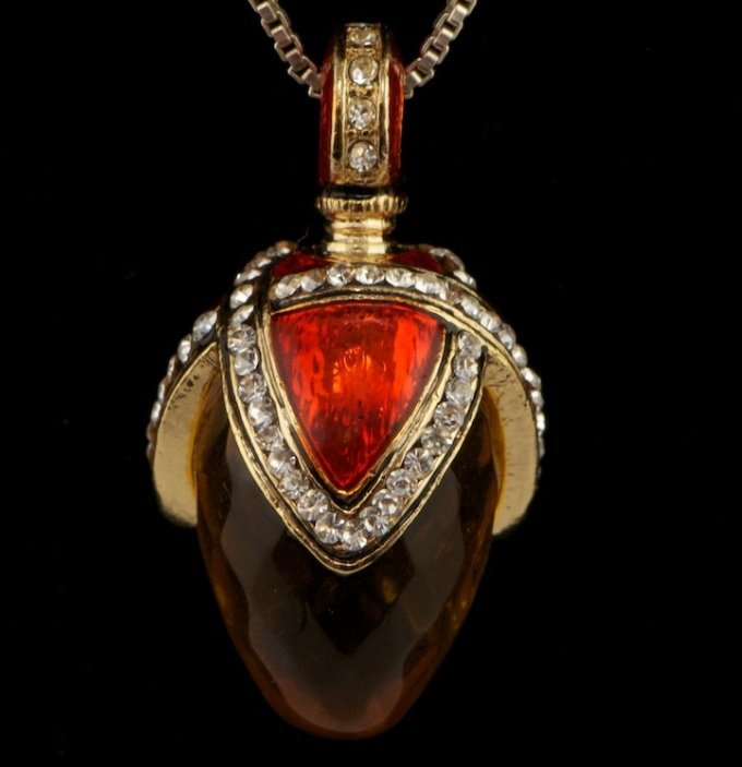150Y: DROP OF HONEY FABERGE INSPIRED EGG PENDANT