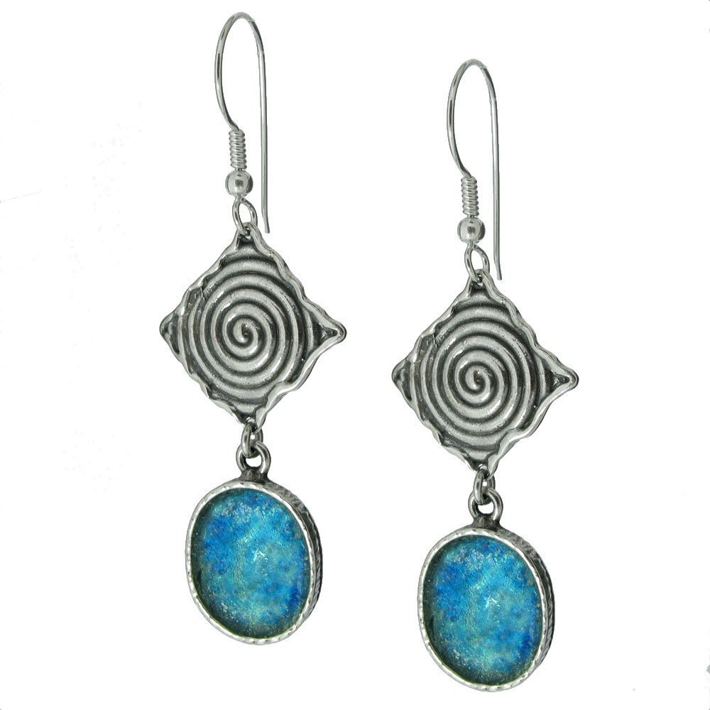 10F: LONG DROP ROMAN GLASS EARRINGS