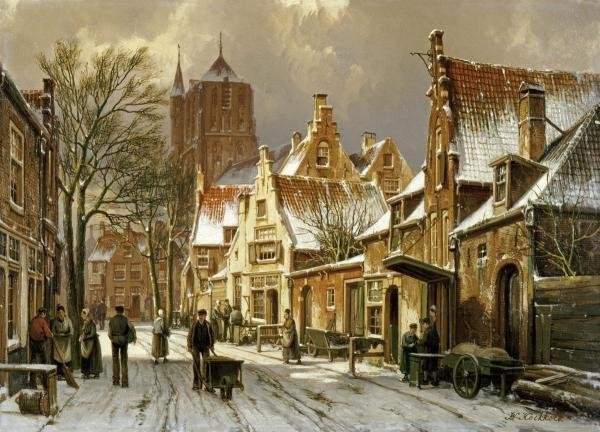 10S: WILLEM KOEKKOEK - A WINTER STREET SCENE