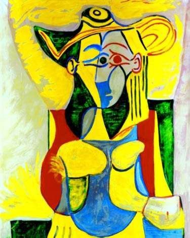 #40 SEATED WOMAN WITH YELLOW AND GREEN HAT PICASSO ESTA