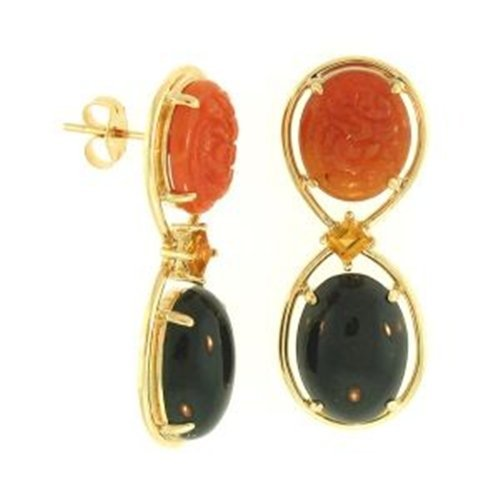 NATURAL RED BLACK MIX JADE EARRINGS