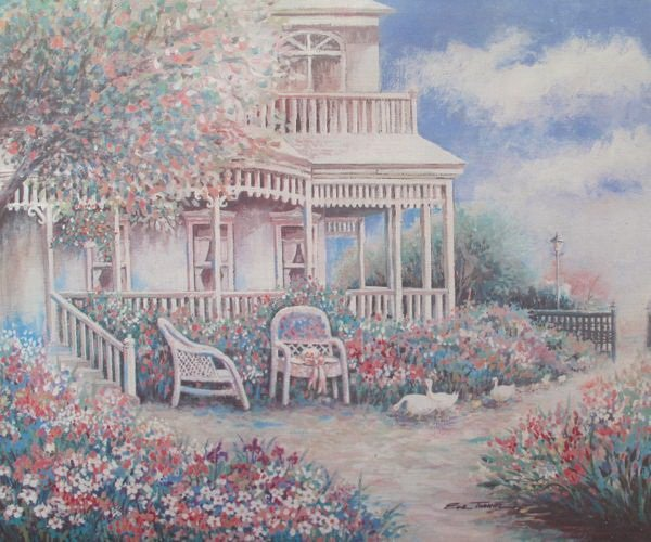 VINTAGE HOME Signed Art Eva turner Serigraph on Canvas