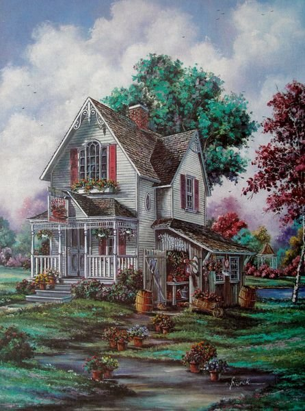 THE GARDENERS HOME Plate Signed Giclee on Canvas