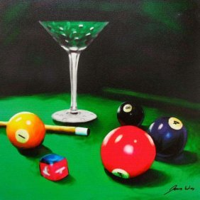 James Wing APPLE MARTINI BILLIARDS Hand Signed Limited