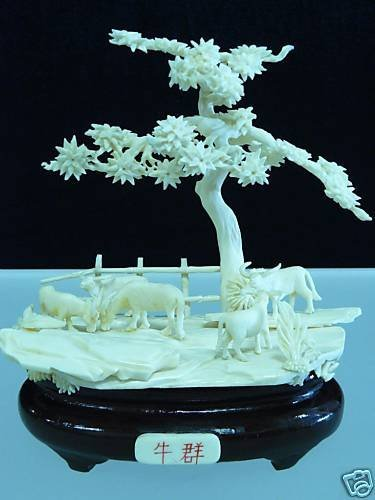 HAND CARVED SOLID BONE BUFFALO RANCH