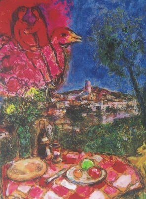 982T - MARC CHAGALL LOVERS OVER CITY LIMITED ED. GICLEE