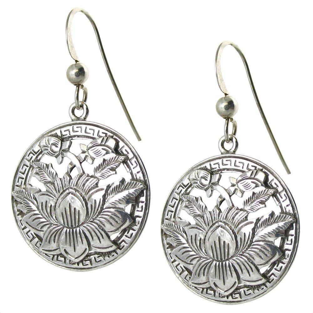 Smaller Open Lotus Sterling Earrings