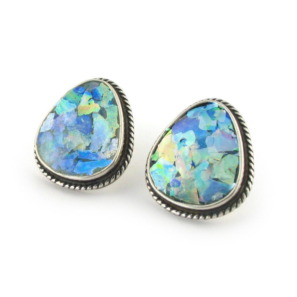 Roman Glass Ellipse Earrings