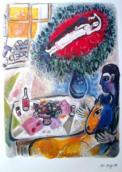 MARC CHAGALL REVERIE LIMITED ED. LITHOGRAPH