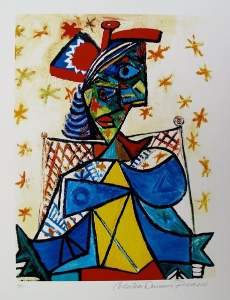343T - PABLO PICASSO SEATED WOMAN WITH RED AND BLUE HAT