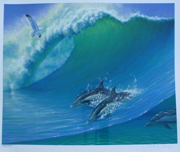 CHARLES LYNN BRAGG SWIMMING DOLPHINS HAND SIGNED LIMITE