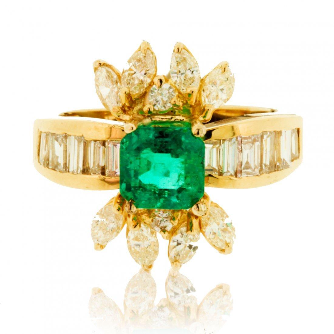 18K YELLOW EMERALD / DIAMOND RING