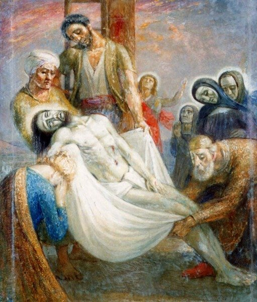 Emile Delobre LA DESCENTE DE CROIX Original Oil Paintin