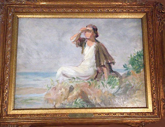 Emile Delobre WOMAN GAZING Original Oil Painting - Fram