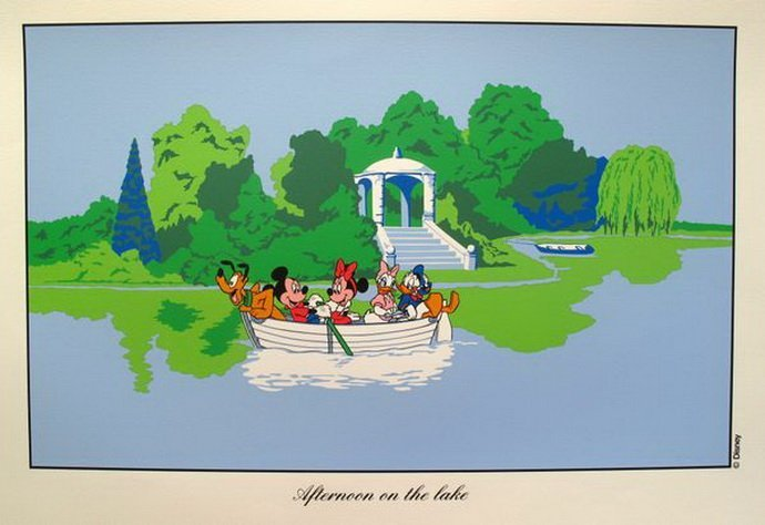 """DISNEY MICKEY & MINNIE MOUSE """"AFTERNOON ON THE LAKE"""" SI"""