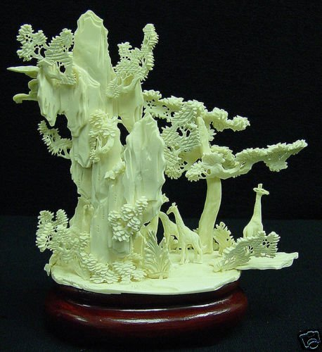 HAND CARVED SOLID BONE GIRAFFS MOUNTAIN - 4