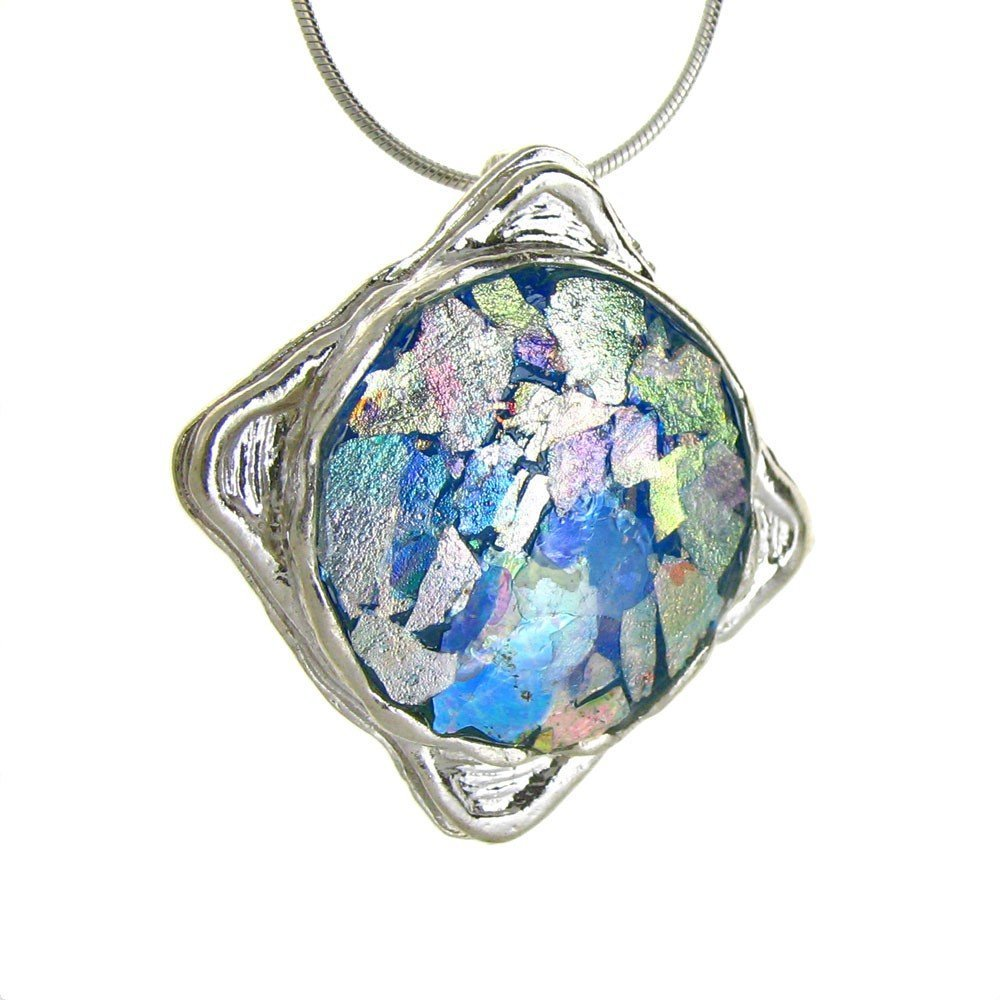 A Larger Square Framed Iridescent Pendant