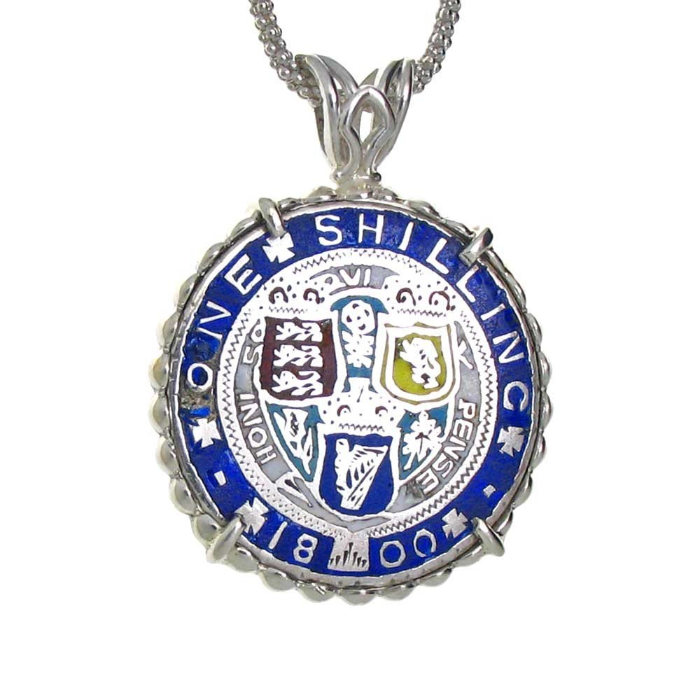 British Enameled Silver Shilling