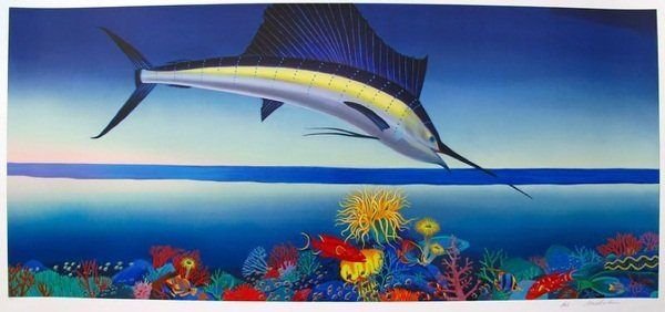 BOB MARCHANT WHERE THE SAILFISH PLAY HAND SIGNED