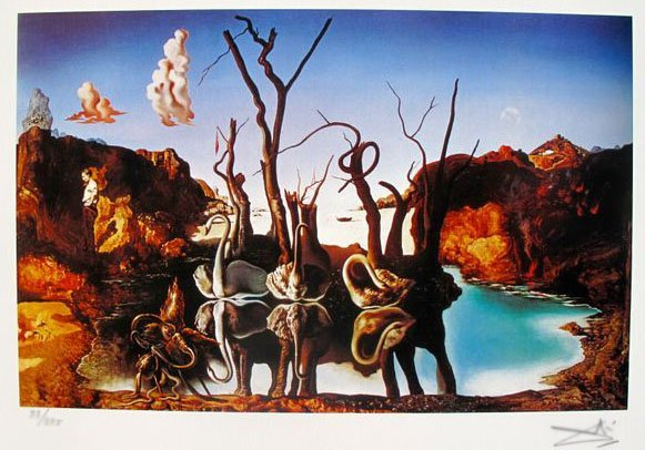 SALVADOR DALI SWANS REFLECTING ELEPHANTS FACSIMILE