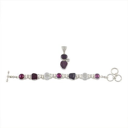 Topaz, Ruby and Pearl Bracelet and Pendant Set,