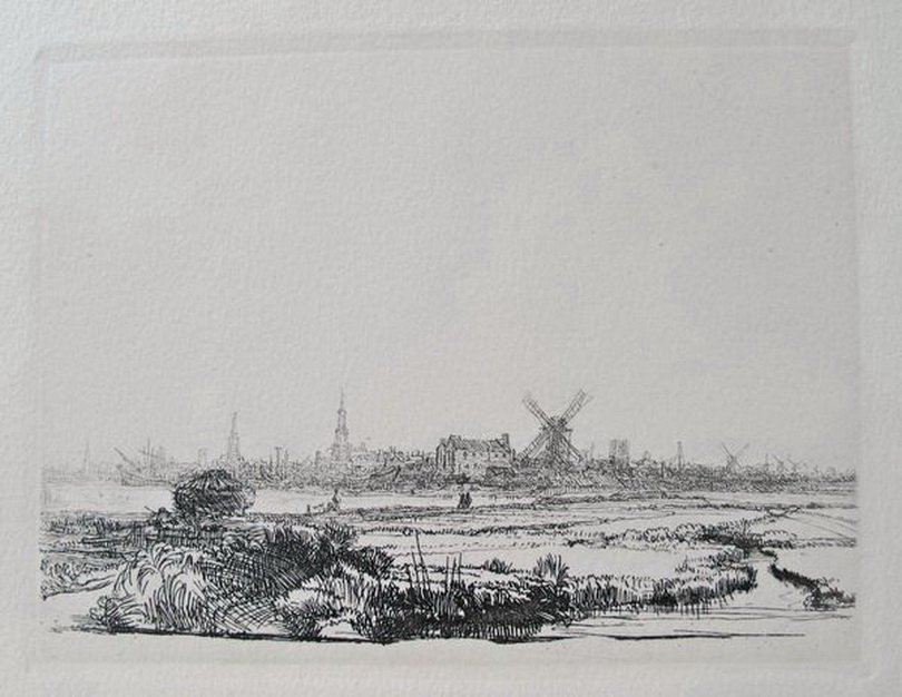 REMBRANDT VIEW OF AMSTERDAM FROM THE NORTHWEST ETCHING