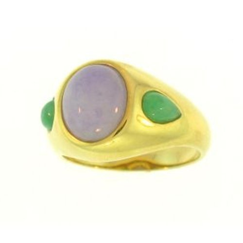 "NATURAL LAVENDER MIX JADE RING - Grade ""A"" Jade"