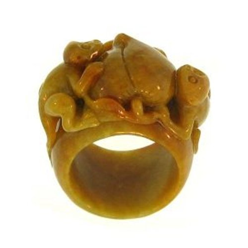 "NATURAL YELLOW JADE RING - Grade ""A"" Jade"