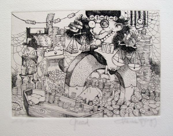 CHARLES BRAGG GREED HAND SIGNED LIMITED ED. ETCHING
